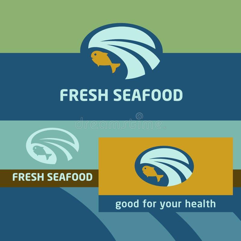 Предпосылка вектора и ярлык логотипа oceanside бесплатная иллюстрация