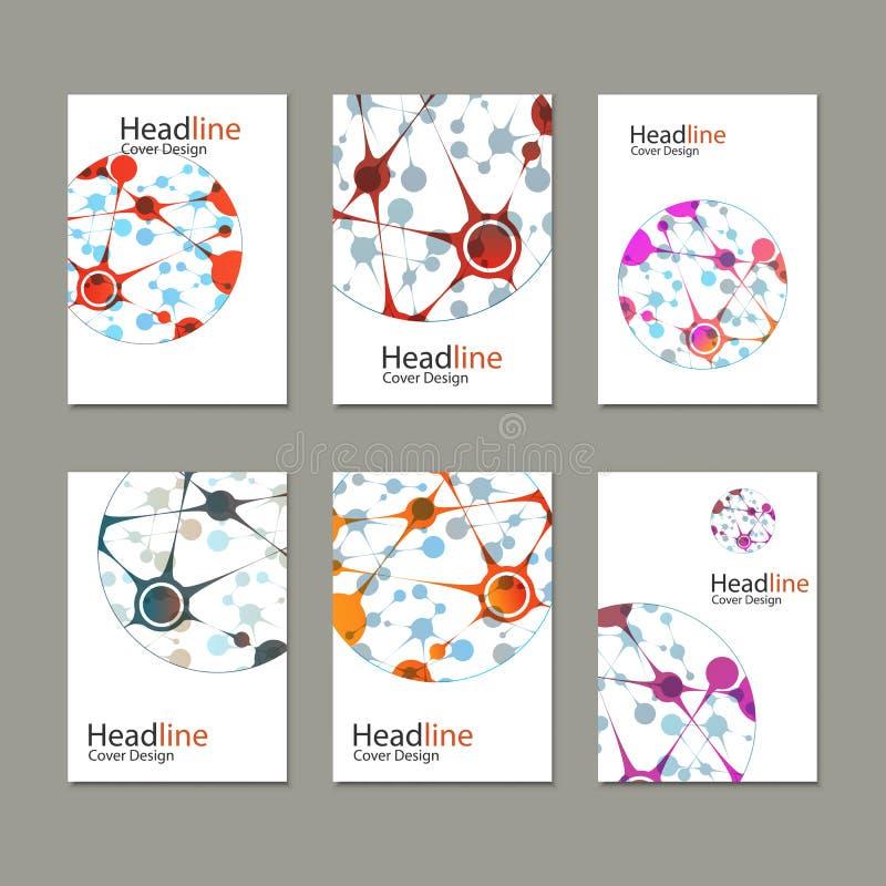 Предпосылка вектора науки Современные шаблоны вектора для брошюры, рогульки, кассеты крышки или отчета в размере A4 иллюстрация вектора