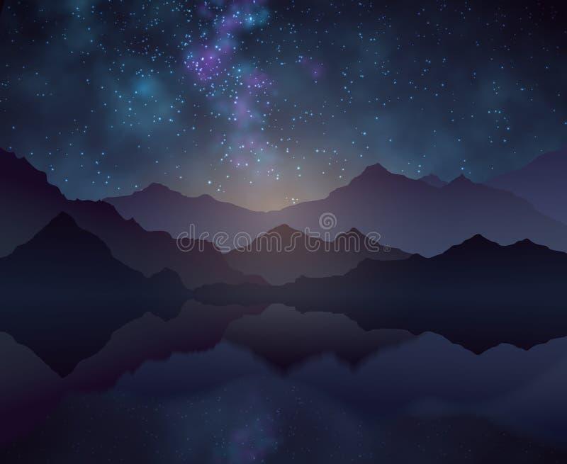 Предпосылка вектора ночи природы с звёздным небом, горы и вода отделывают поверхность бесплатная иллюстрация