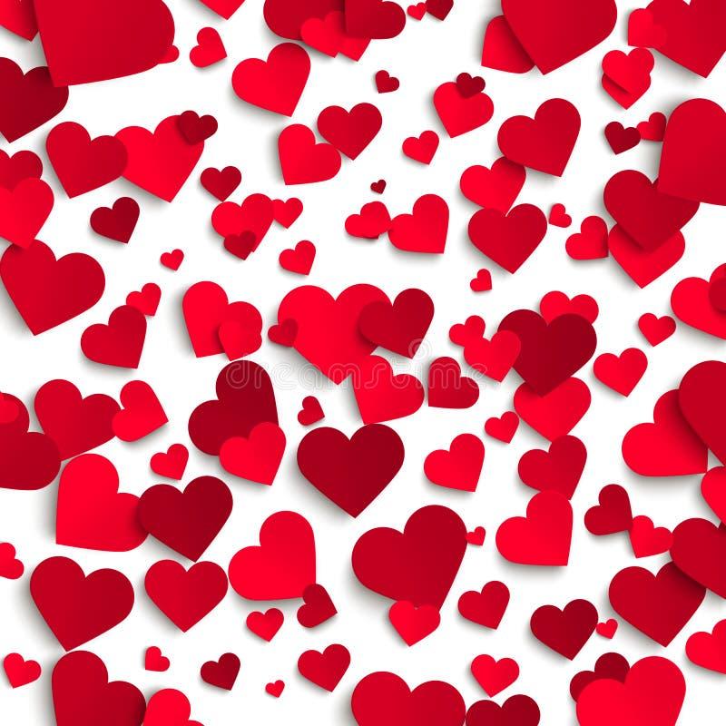 Предпосылка вектора дня валентинки, красные бумажные сердца на белой предпосылке бесплатная иллюстрация