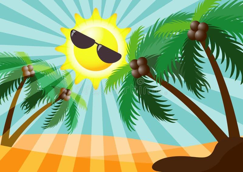Предпосылка вектора дня солнечности лета иллюстрация вектора