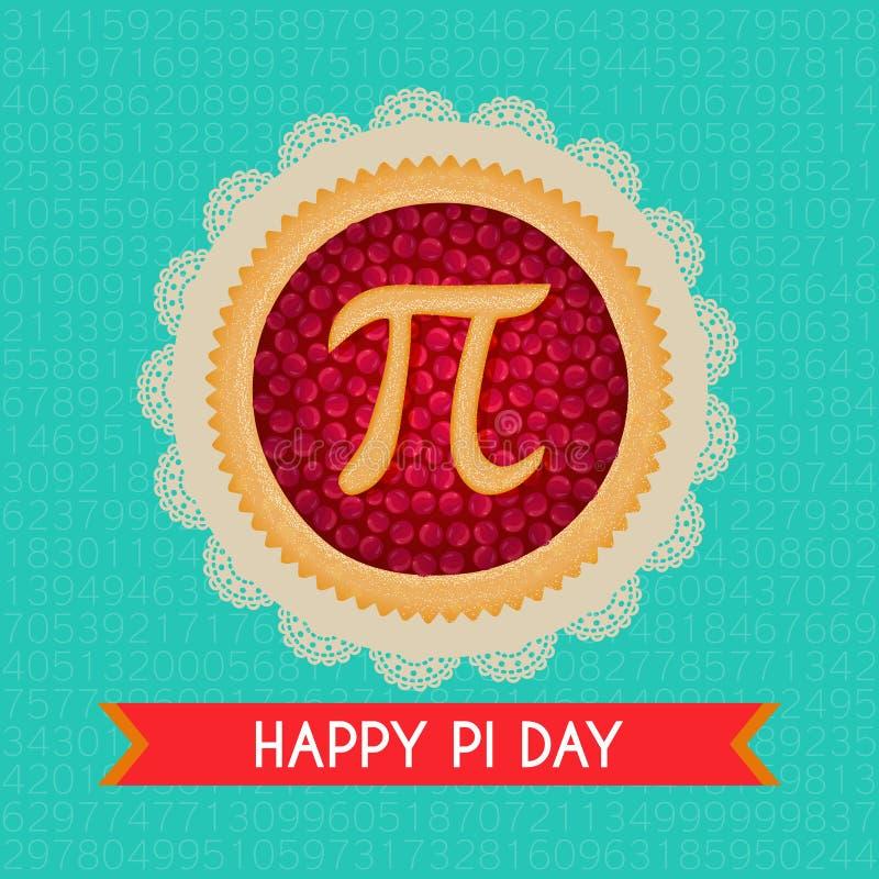 Предпосылка вектора дня Pi Испеченный пирог вишни с символом и лентой Pi Математически константа, нерациональный номер иллюстрация штока