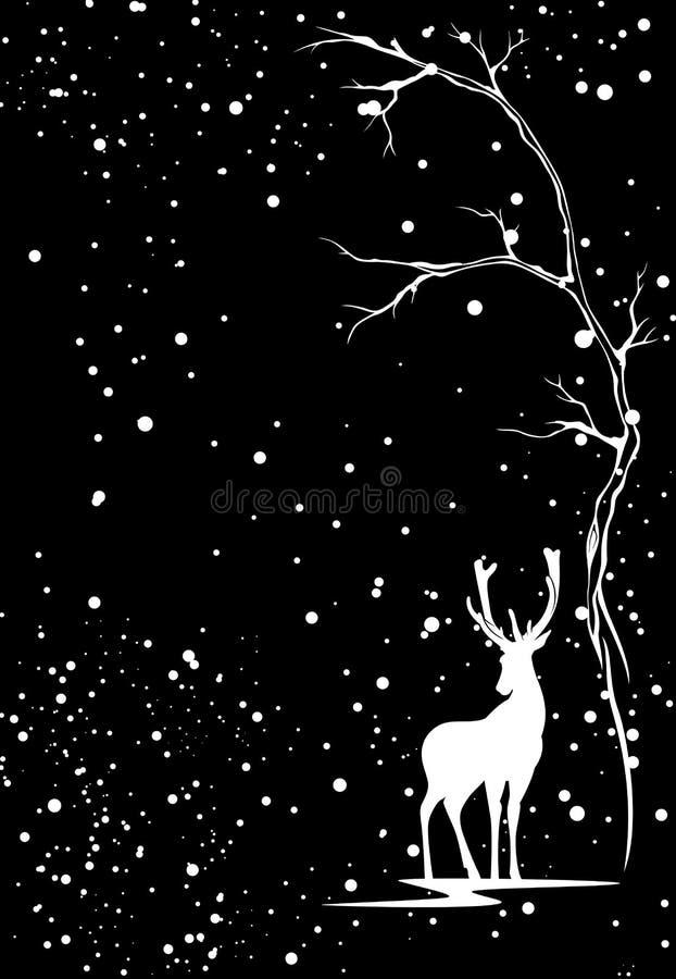 Предпосылка вектора сезона зимы с белыми оленями иллюстрация штока
