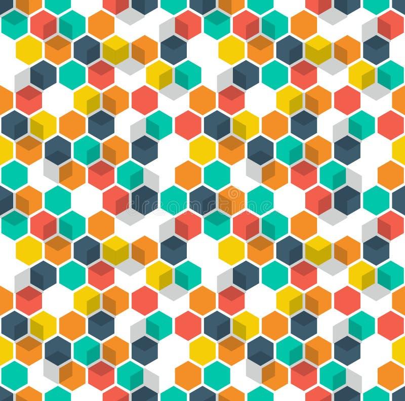 Предпосылка вектора сота Безшовная картина с покрашенными шестиугольниками и кубами Геометрическая текстура, орнамент сини, красн бесплатная иллюстрация