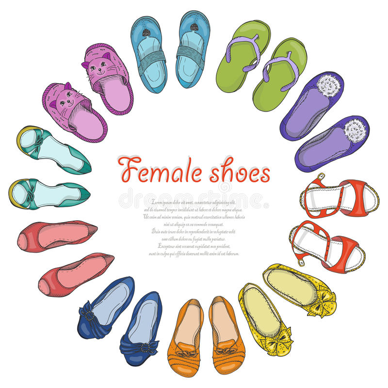 Предпосылка вектора с ботинками женщин в круге иллюстрация вектора