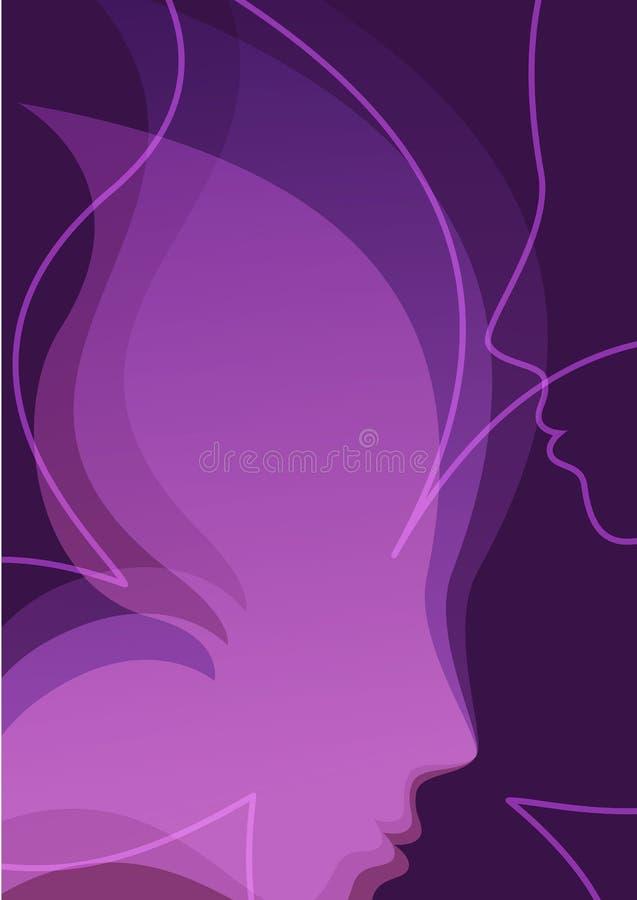 Предпосылка вектора с красивым силуэтом девушки Сторона i женщины иллюстрация вектора