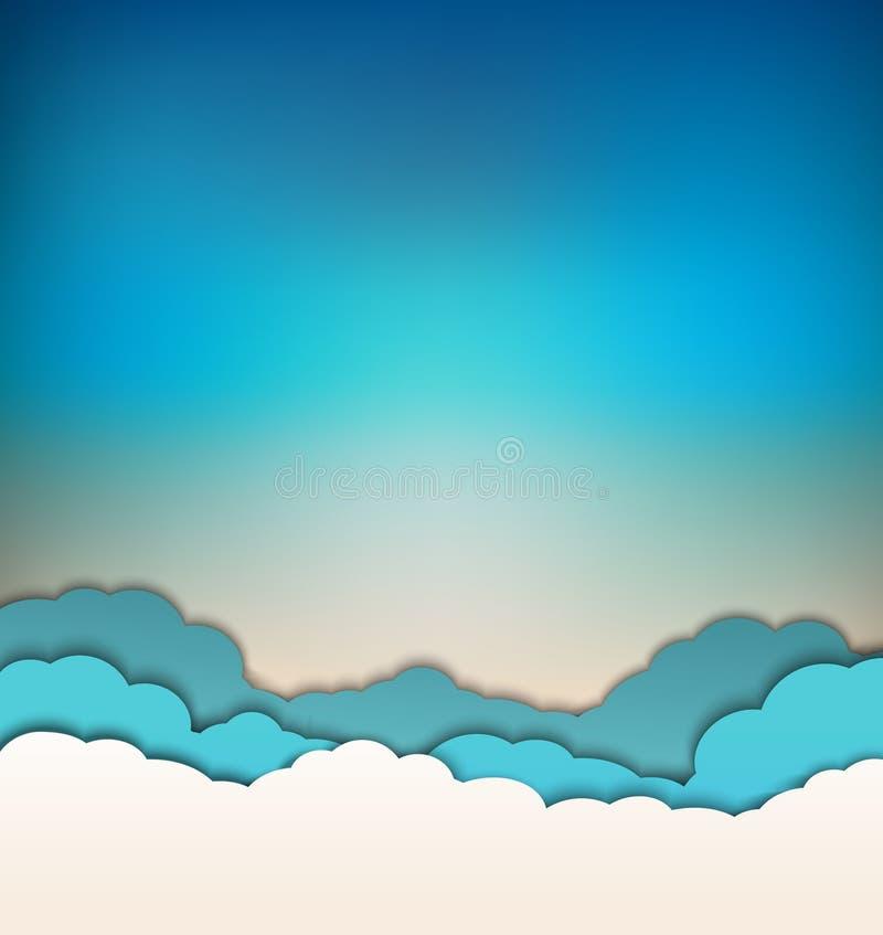 Предпосылка вектора с украшением: солнце, голубое небо и облака бесплатная иллюстрация