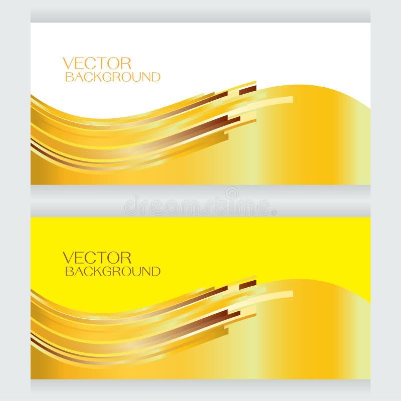 Предпосылка вектора установленная изгибает желтый цвет и знамя иллюстрация вектора