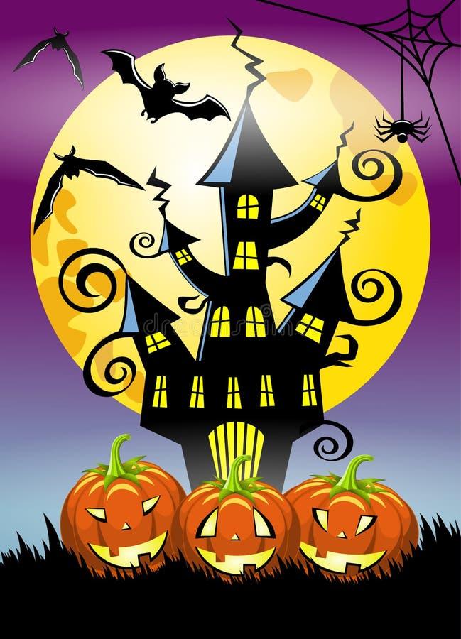Предпосылка вертикали ночи хеллоуина иллюстрация штока