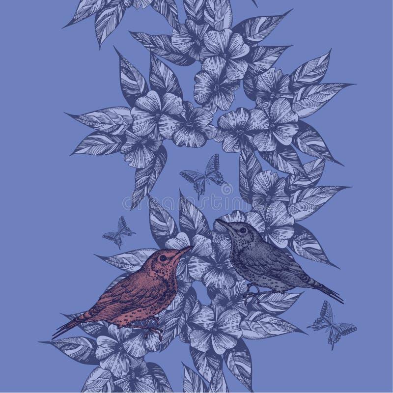 Предпосылка весны безшовная с птицами и бабочками, рук-притяжкой бесплатная иллюстрация