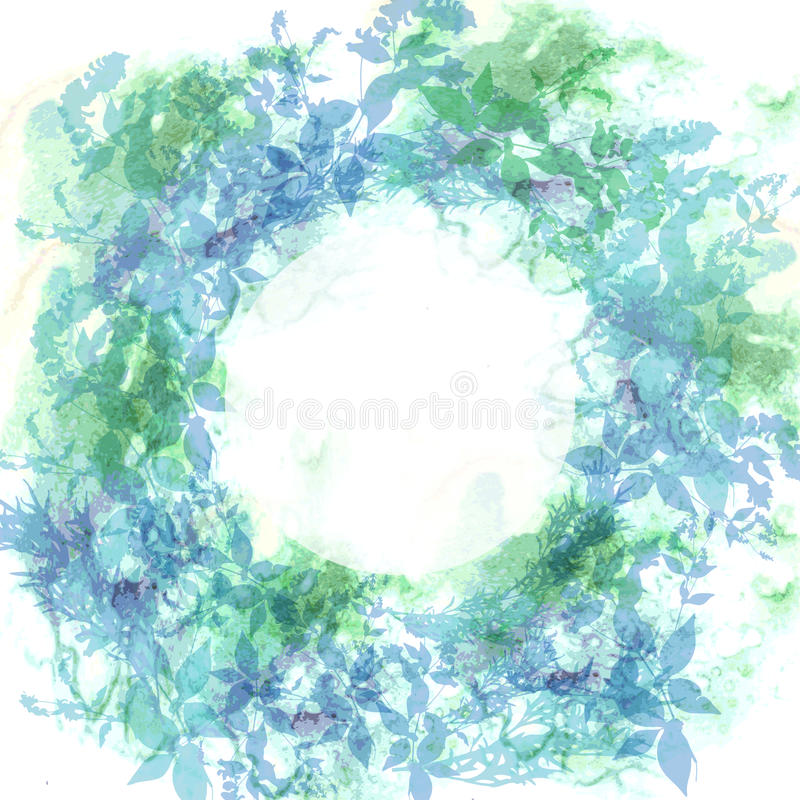 Предпосылка весны, венок с зеленым цветом мяты выходит, акварель Круглое знамя для текста вектор иллюстрация штока
