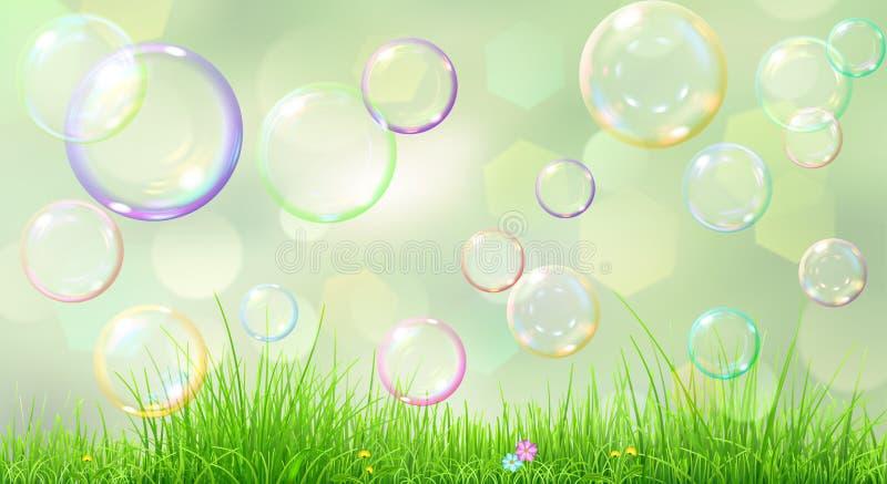 Предпосылка весны с зеленой травой иллюстрация штока