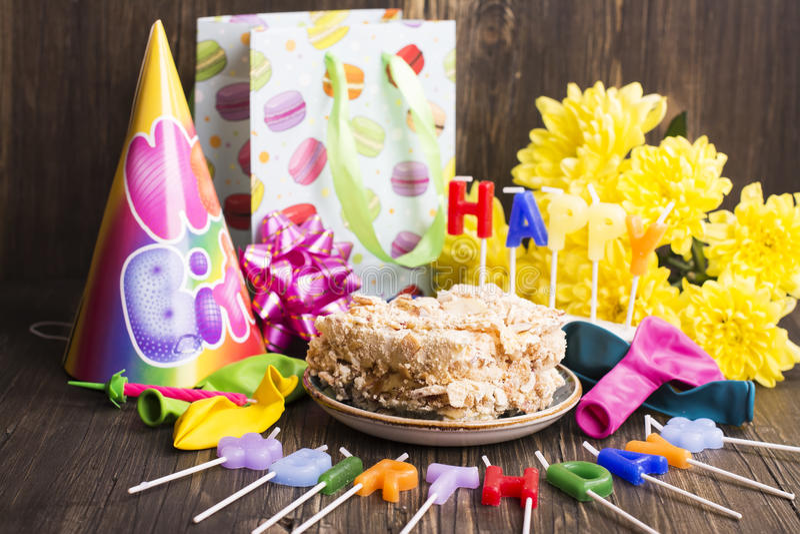 Предпосылка вечеринки по случаю дня рождения, селективный фокус стоковые изображения rf