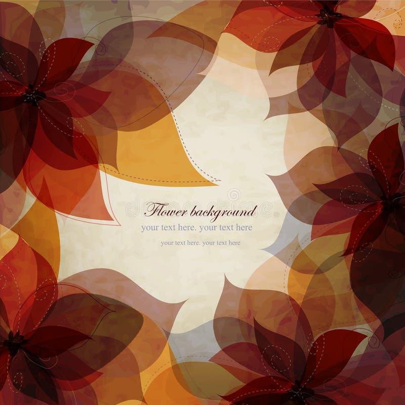 Предпосылка винтажной осени флористическая, карточка с коричневым цветом бесплатная иллюстрация
