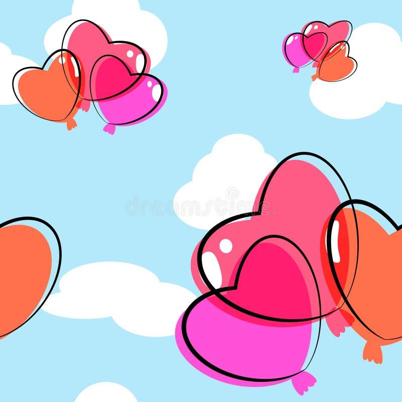 Предпосылка воздушного шара сердца безшовная бесплатная иллюстрация