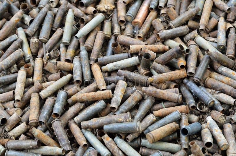 Предпосылка войны используемых раковин стоковое изображение