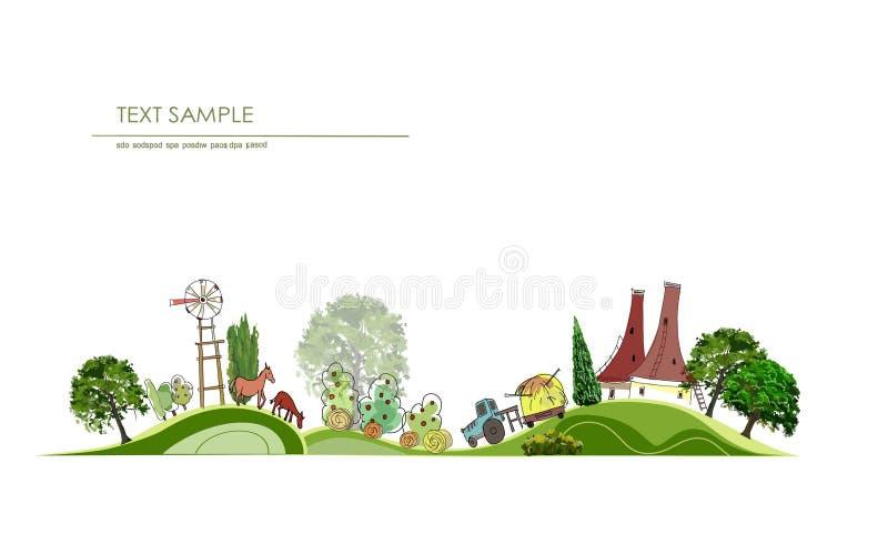Предпосылка двора фермы иллюстрация вектора