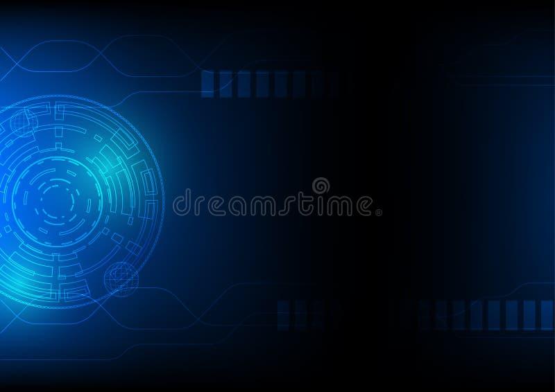 Предпосылка в сини, концепция технологии абстрактная темы виртуального пространства научной фантастики высок-техника, проиллюстри бесплатная иллюстрация
