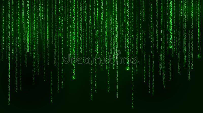 Предпосылка в стиле матрицы Падая случайные номера Зеленый цвет преобладающий цвет также вектор иллюстрации притяжки corel бесплатная иллюстрация