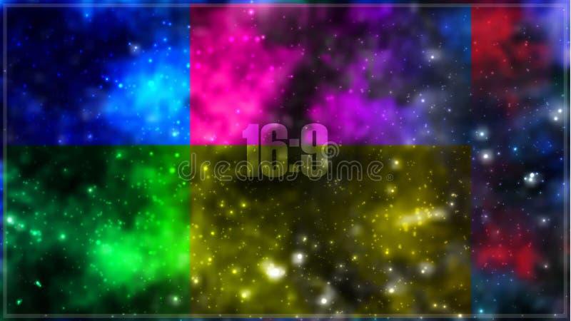 Предпосылка галактики абстрактного вектора космическая с межзвёздным облаком, stardust, яркими сияющими звездами бесплатная иллюстрация