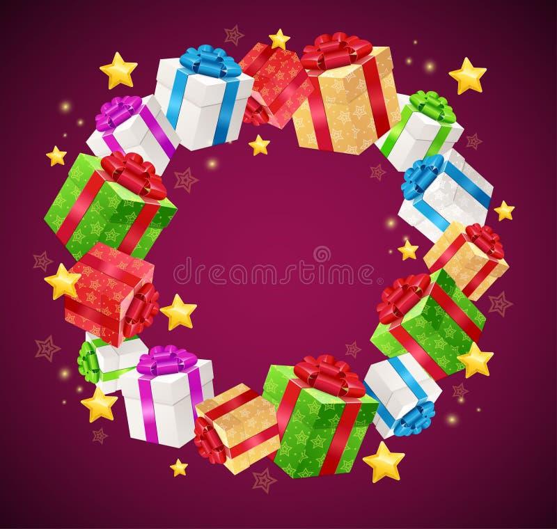 Предпосылка гирлянды коробки подарка на день рождения вектор иллюстрация вектора