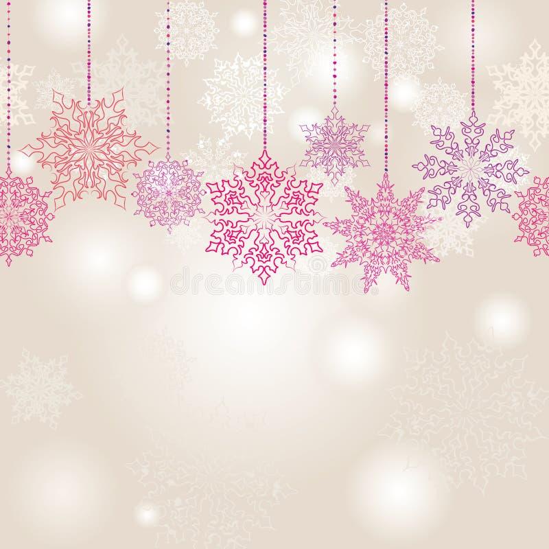 Предпосылка гирлянды снежинок безшовная иллюстрация вектора