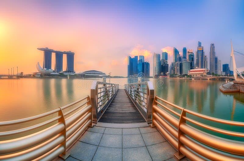 Предпосылка горизонта Сингапура стоковое фото rf