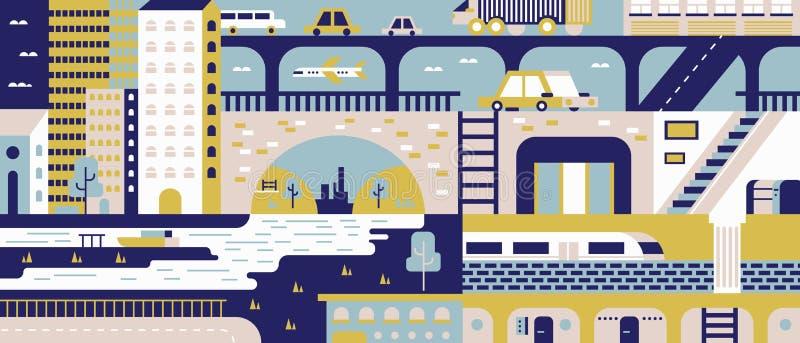 Предпосылка города абстрактная плоская бесплатная иллюстрация