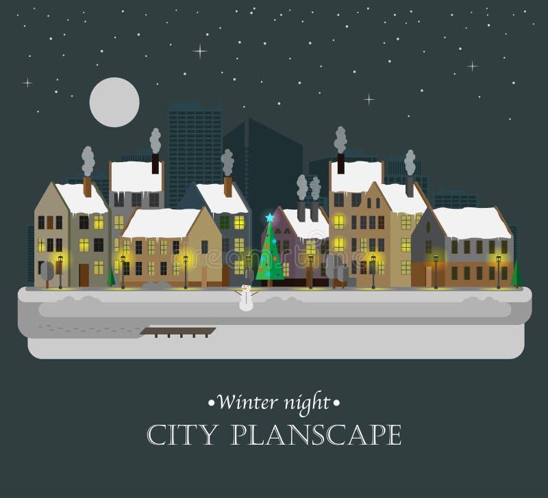 Предпосылка города ночи зимы иллюстрация вектора