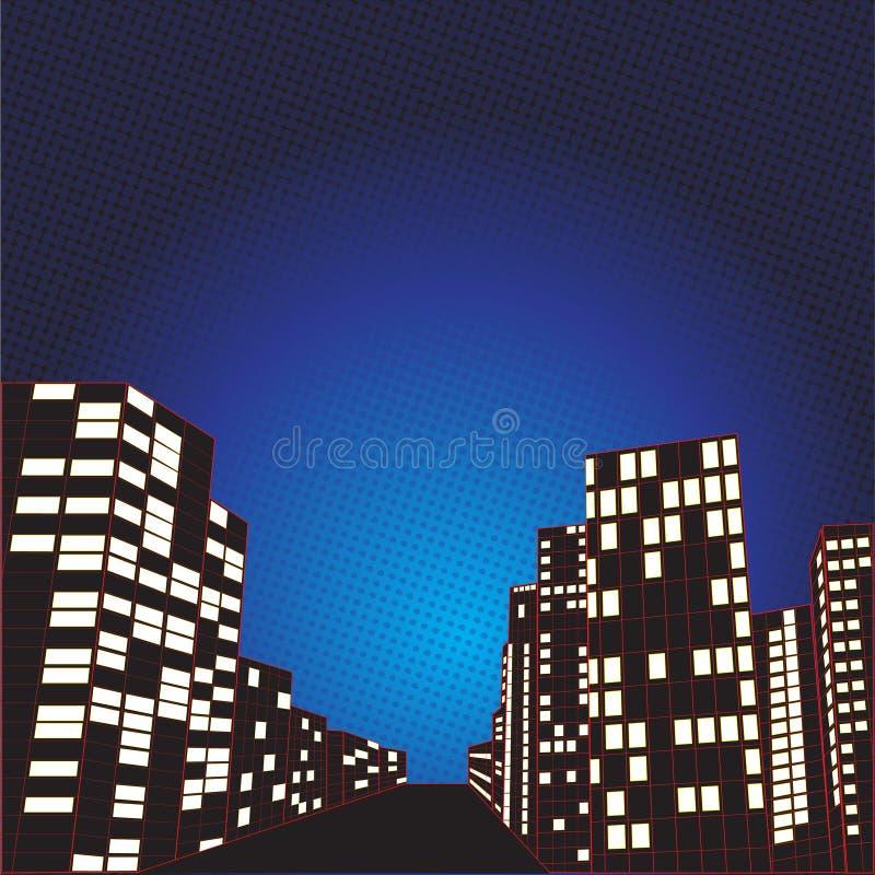 Предпосылка города ночи шуточная иллюстрация штока