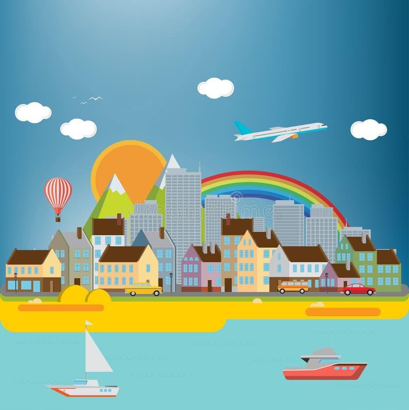 Предпосылка города с морем бесплатная иллюстрация