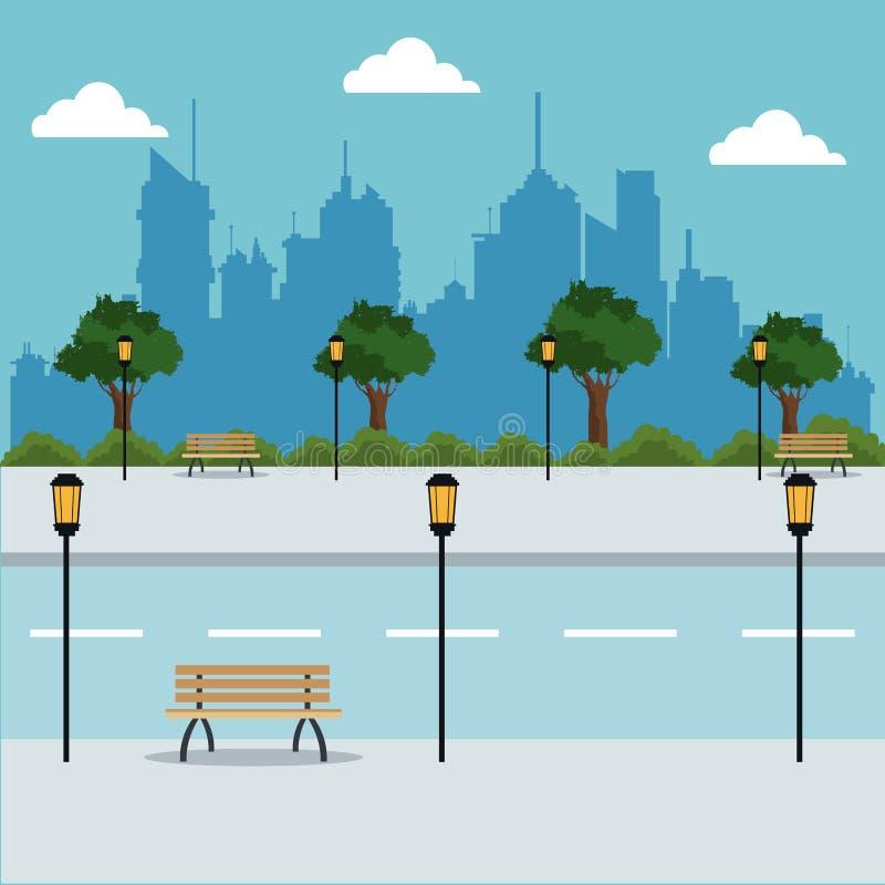 Предпосылка города фонариков деревьев дороги ландшафта иллюстрация вектора