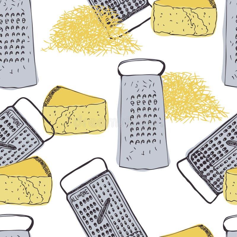 Предпосылка года сбора винограда сыра и терки иллюстрация вектора