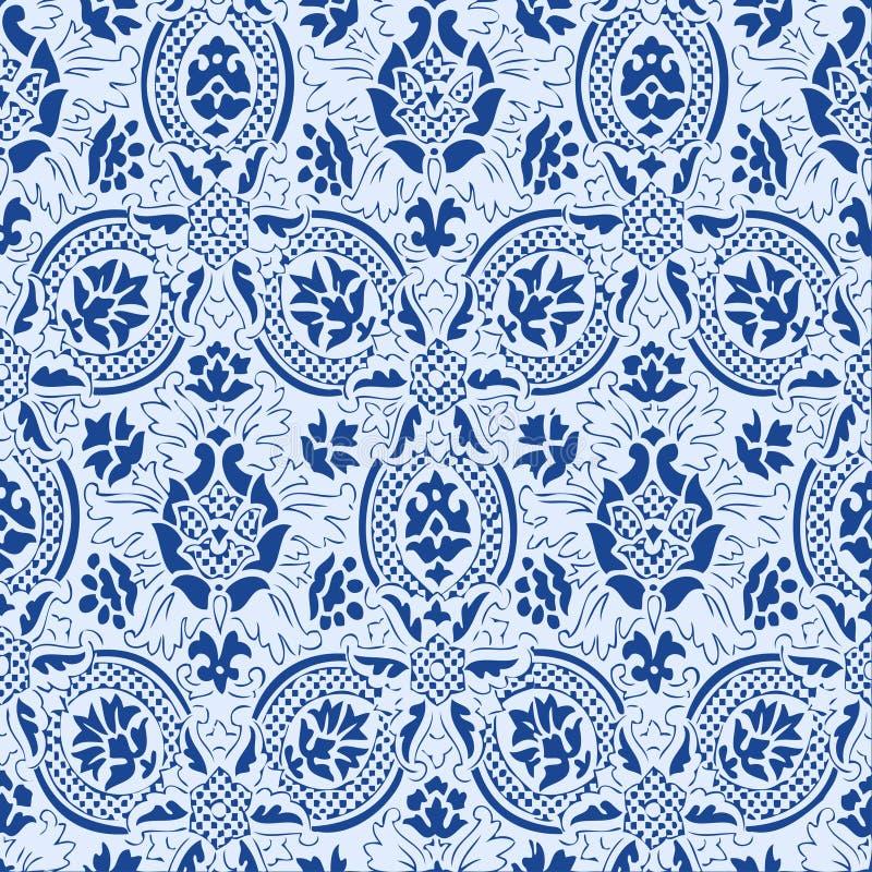Предпосылка года сбора винограда цветочного узора голубого шнурка безшовная абстрактная иллюстрация вектора