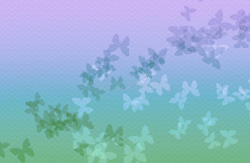 Предпосылка голубой и зеленой волны света - с бабочкой иллюстрация штока