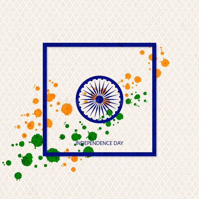 Предпосылка Дня независимости праздника вектора индийская с традиционно покрашенными помарками и символ колеса телеги иллюстрация вектора