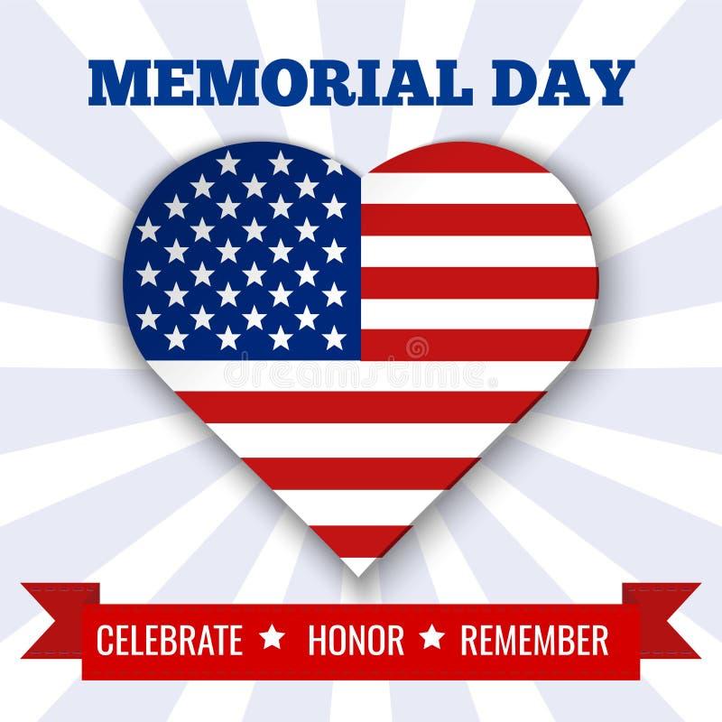 Предпосылка Дня памяти погибших в войнах Vector иллюстрация с сердцем, текстом и лентой в цветах флага США бесплатная иллюстрация