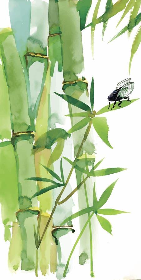 Предпосылка декоративной акварели бамбуковая для вашего дизайна Вертикальные ветви акварели на белой предпосылке бесплатная иллюстрация