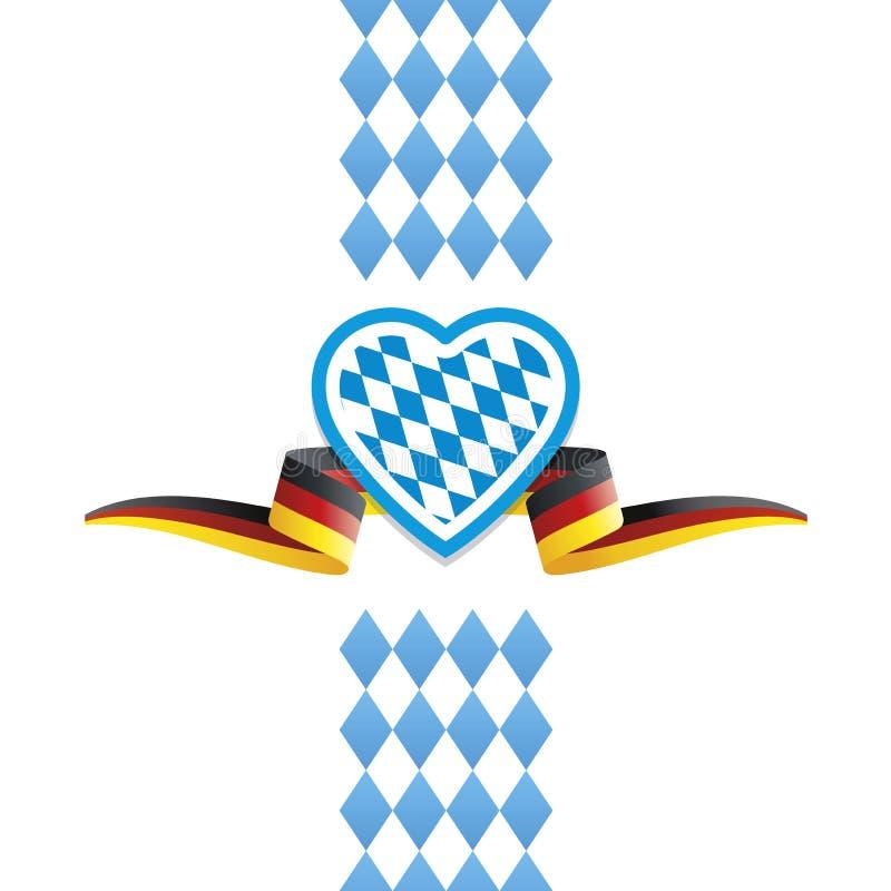 Предпосылка ленты флага Германии Баварии сердца Oktoberfest бесплатная иллюстрация