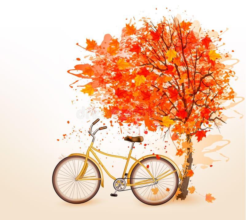 Предпосылка дерева осени с желтым велосипедом бесплатная иллюстрация