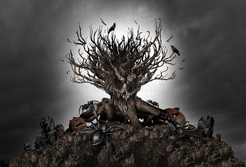 Предпосылка дерева хеллоуина страшная бесплатная иллюстрация