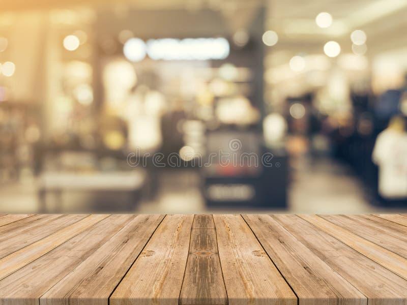 Предпосылка деревянной доски пустой запачканная таблицей Перспектива коричневый w стоковые фотографии rf