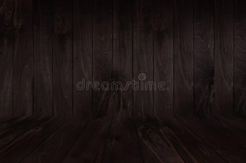Предпосылка деревянной доски темного коричневого цвета винтажная с перспективой, стеной и полом стоковая фотография rf