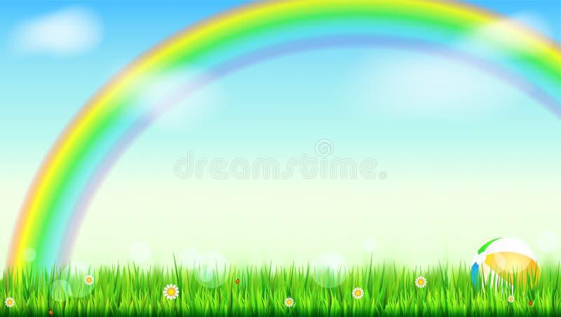 Предпосылка лета Большая яркая радуга над зеленым полем Сочная трава, маргаритка цветет, ladybugs в траве на фоне от бесплатная иллюстрация