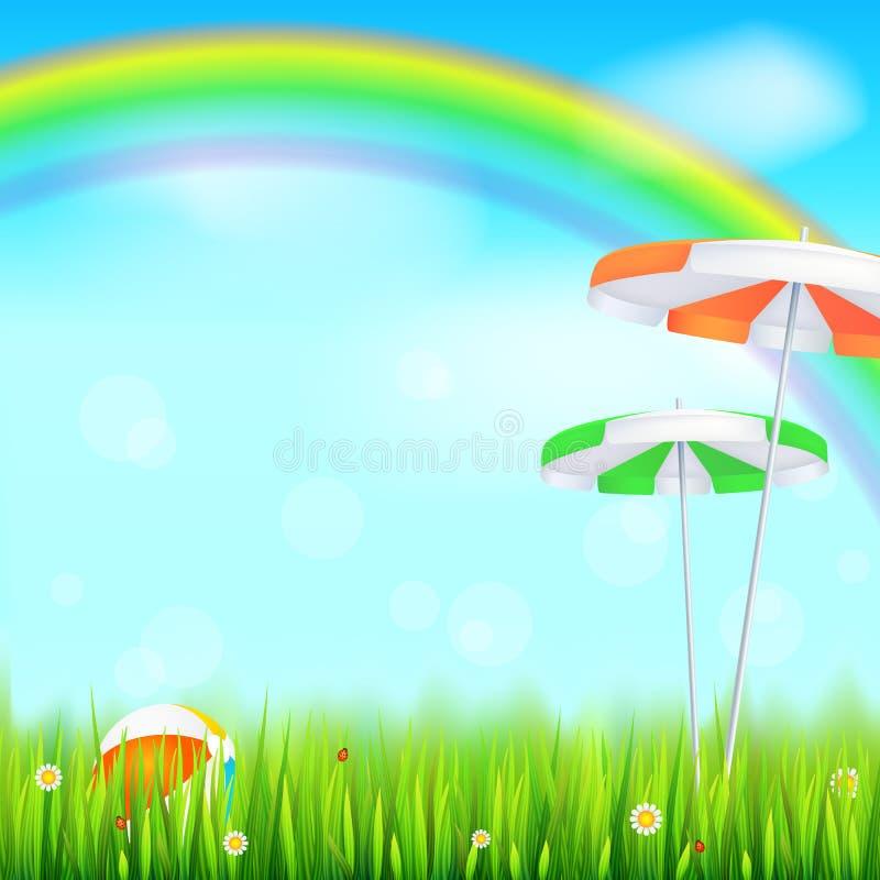 Предпосылка лета Большая яркая радуга над зеленым полем Сочная трава, маргаритка цветет, ladybugs в траве на фоне от иллюстрация вектора