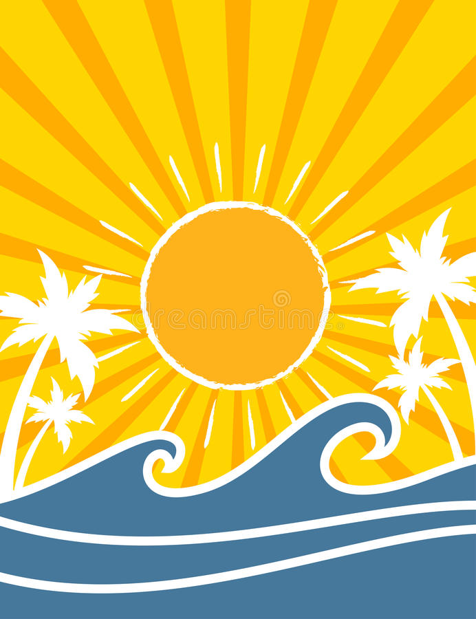 Предпосылка лета океанских волн ретро стиля тропическая бесплатная иллюстрация