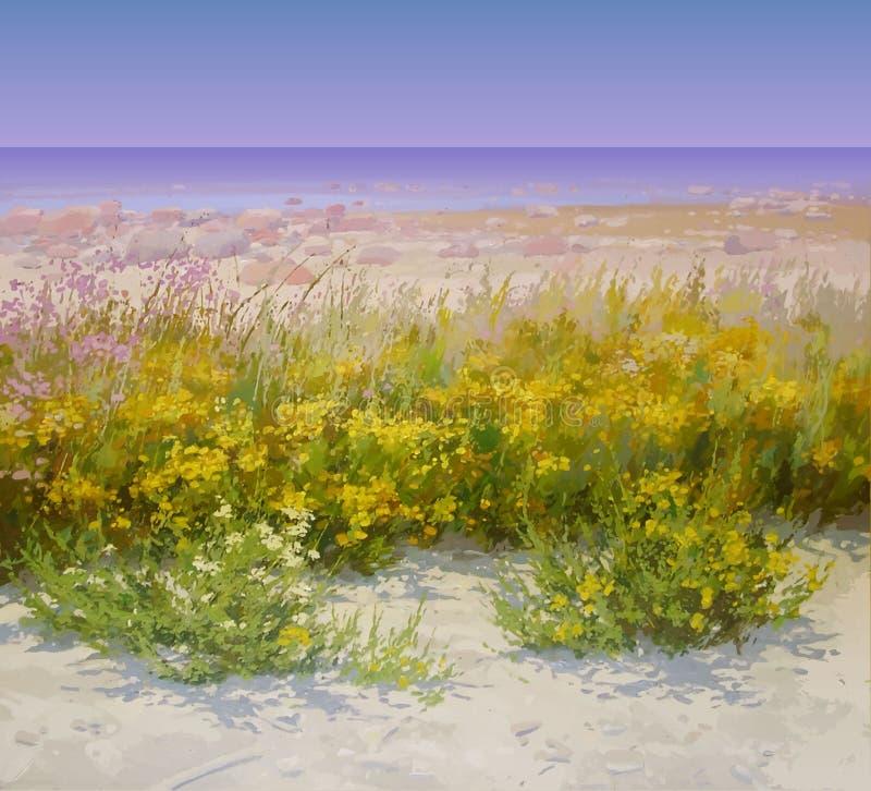 Предпосылка лета с пляжем и цветками иллюстрация штока