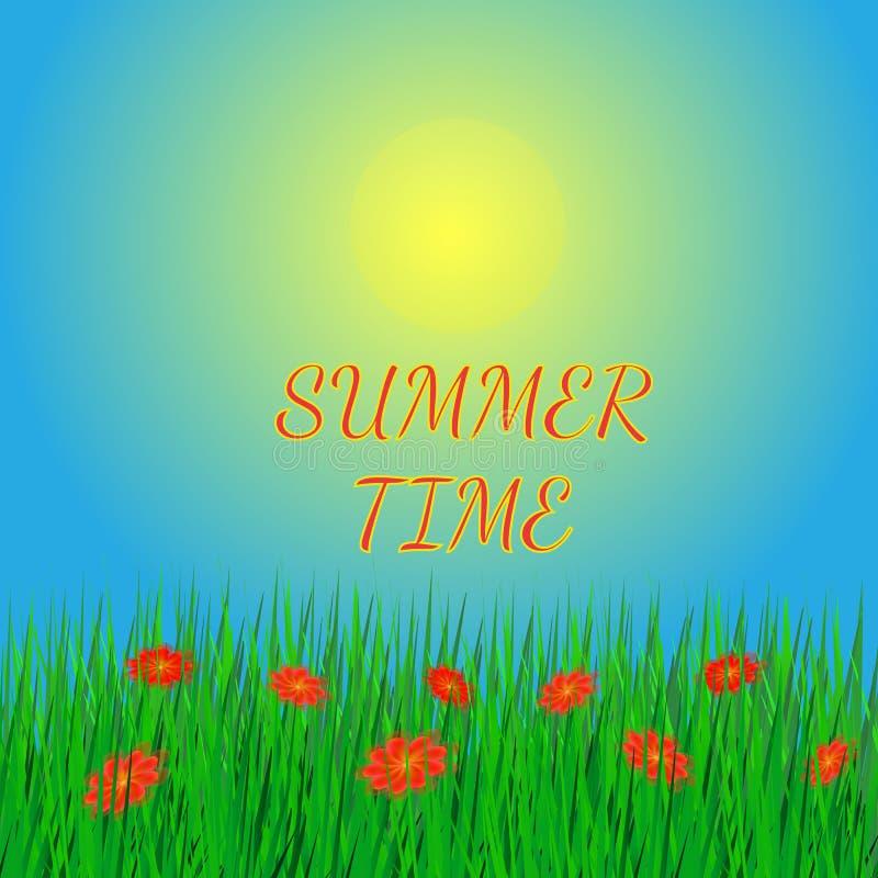 Предпосылка лета с солнцем и травой бесплатная иллюстрация