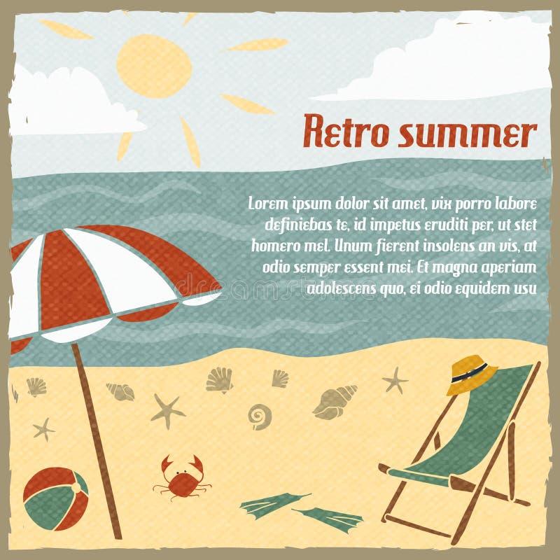 Предпосылка летних каникулов ретро иллюстрация вектора