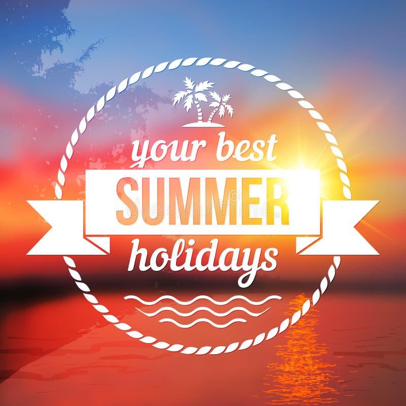 Предпосылка летних отпусков с дизайном текста бесплатная иллюстрация